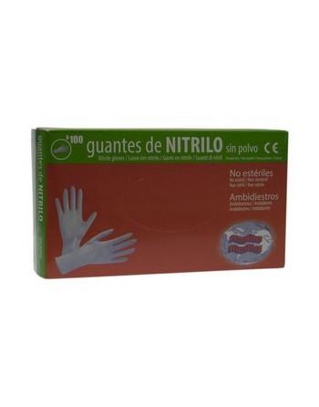 U.QUI 100 GUANTE NITRILO DESECHABLE (LIBRE DE LATEX )SIN POLVO. TALLA L. - 500692