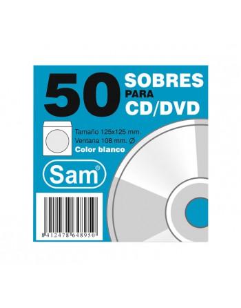 SAM PACK 50 SOBRES CD BLANCO HUM. 90GR. 125X125 - PQT. 50 CD BLANCO