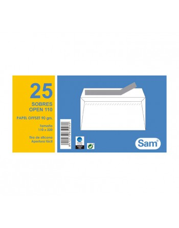 SAM PACK 25 SOBRES 110X220 AUTODEX BLANCO O110 - PQ.25 OPEN 110