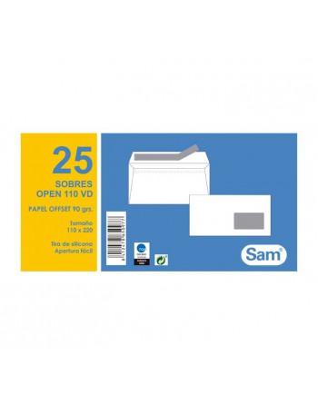 SAM PACK 25 SOBRES 115X225 AUTODEX +V. DERECHA BLISTER - PQ.25 OPEN 110 VD