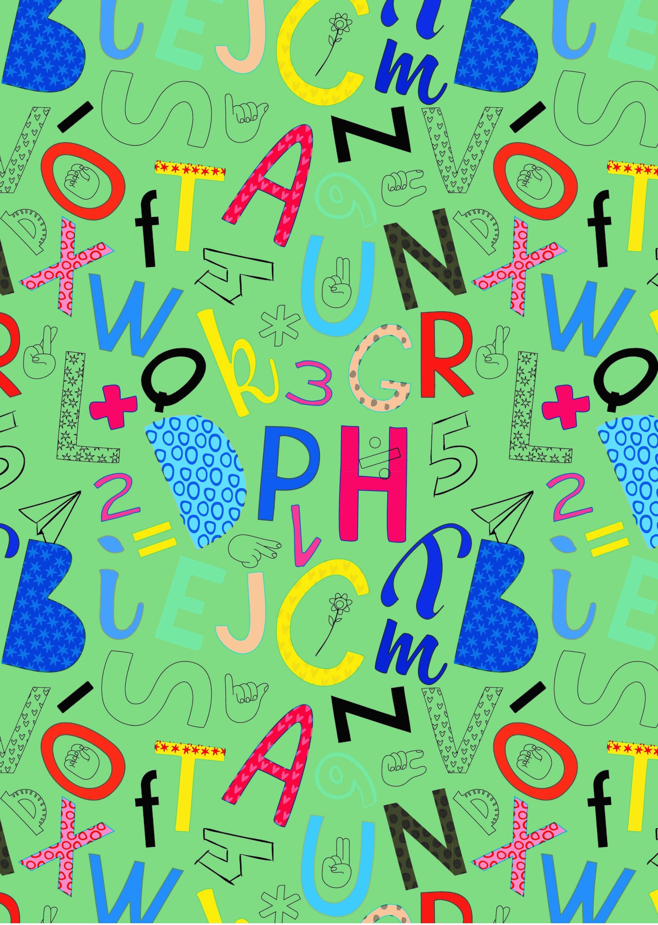 CELULOSA SETINADA INFANTIL lletres verdes